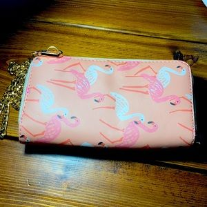 FWP Flamingo wallet with purse chain
